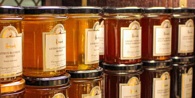 Jarred honey on display.
